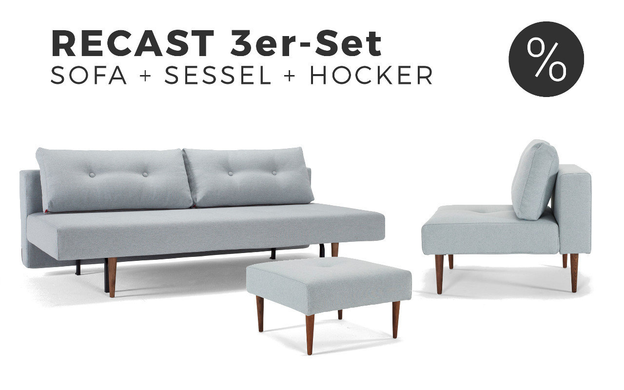 recast sofa mit sessel hocker im spar set sofawunder. Black Bedroom Furniture Sets. Home Design Ideas