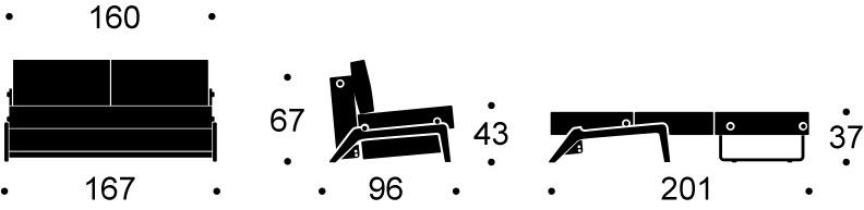 Abmessung: Cubed_160 für Sofa Cubed 160